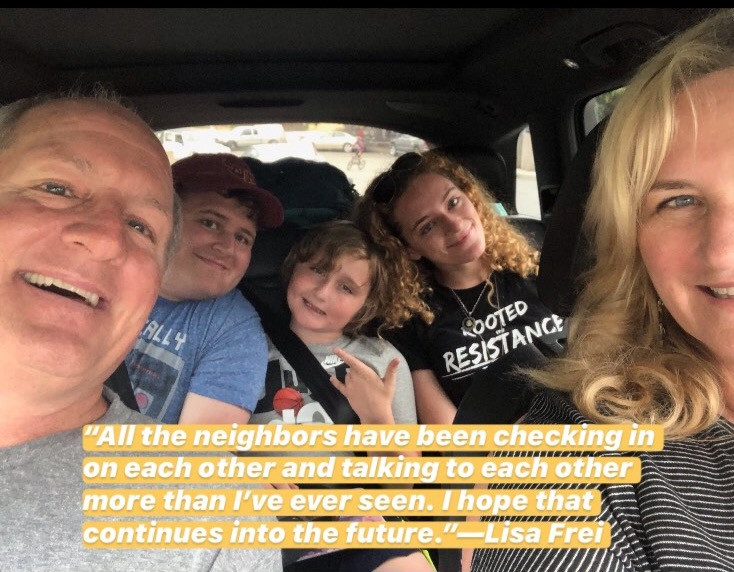 Lisa Frei and her family in the car