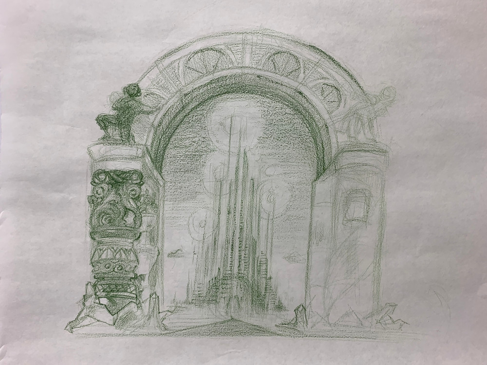 """Sketch of the Emerald City"" by Aiseborn"