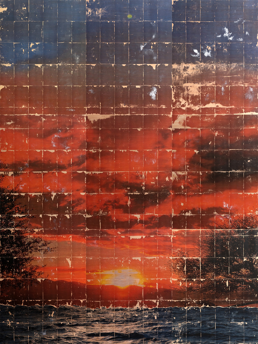 Large thermal transfer art piece depicting ocean, sunset, sky