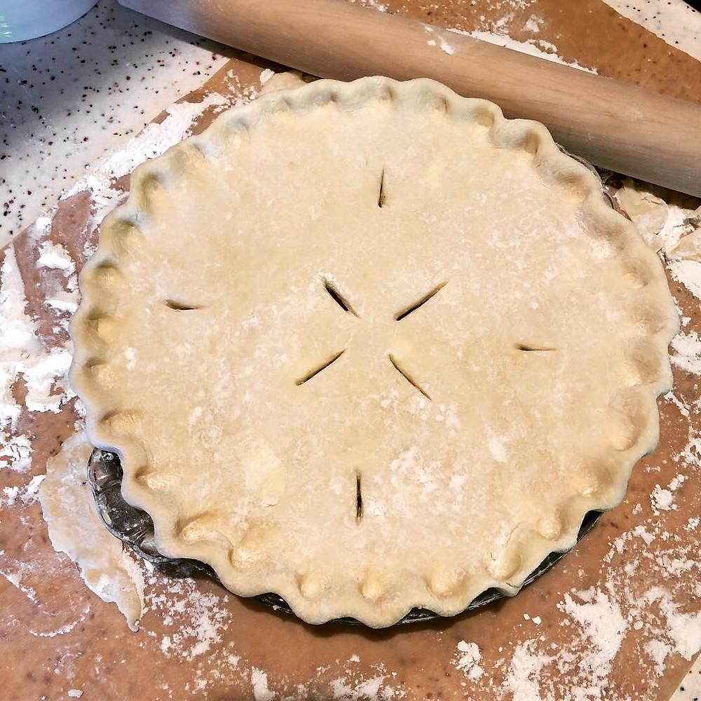 Homemade turkey pot pie before baking