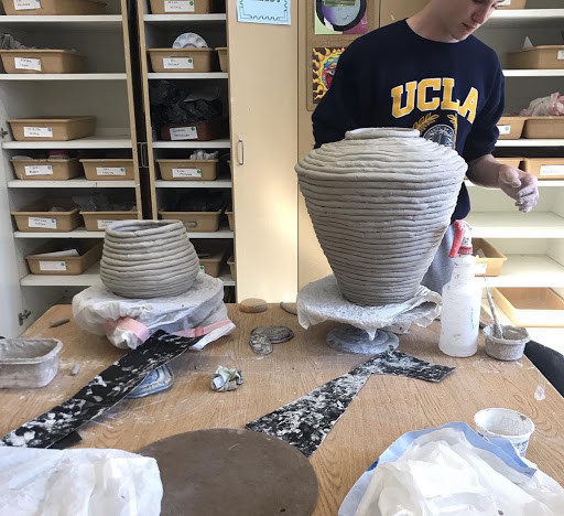 A student works on a sculpture at El Segundo High School