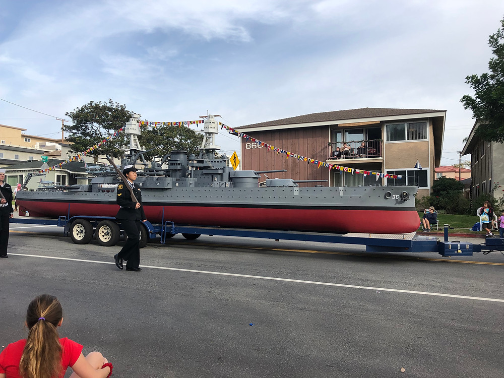 Replica battleship in El Segundo Holiday Parade 2018