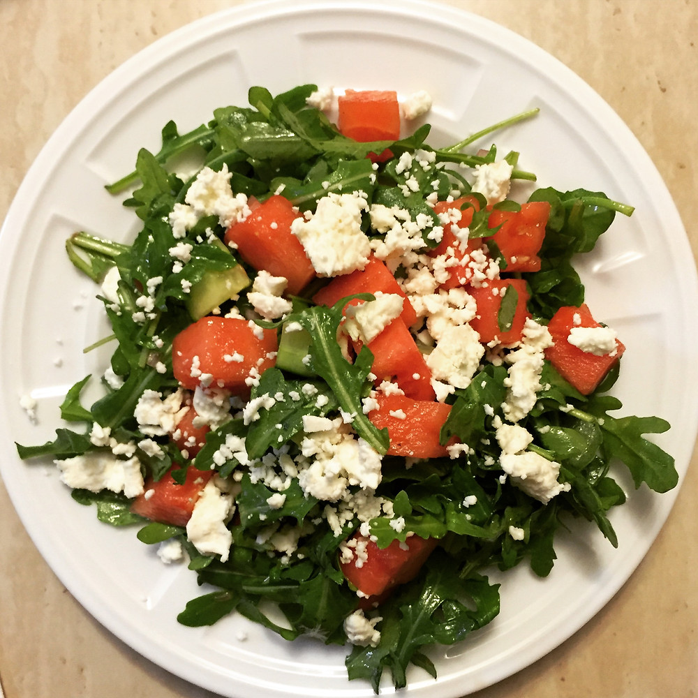Arugula, cucumber, watermelon, and feta salad