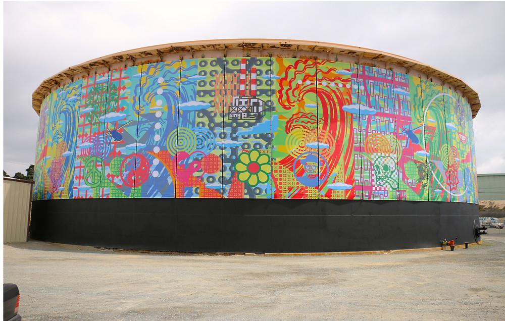John Van Hamersveld's artwork on an old water tank of Grand Avenue in El Segundo