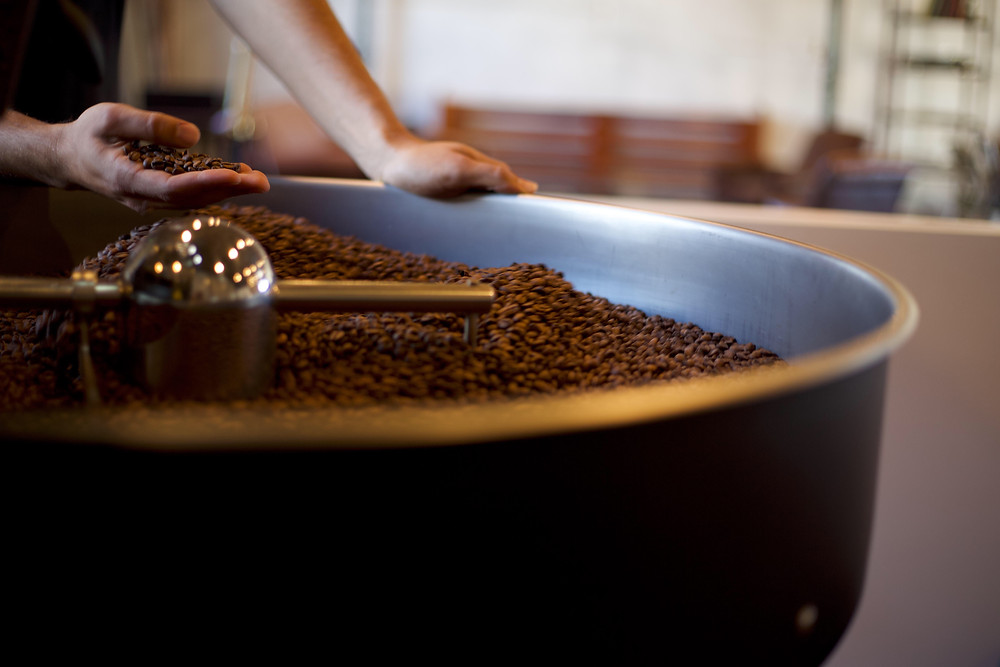 A coffee-bean roaster at Smoky Hollow Roasters.