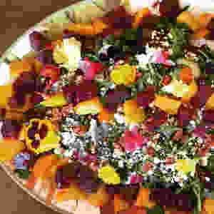 Roasted-beet salad adorned with edible flowers