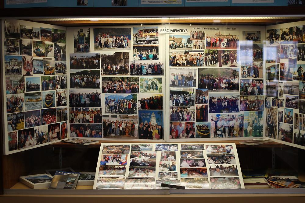 An extensive photo collage and memorabilia display at the Joslyn Center in El Segundo, California