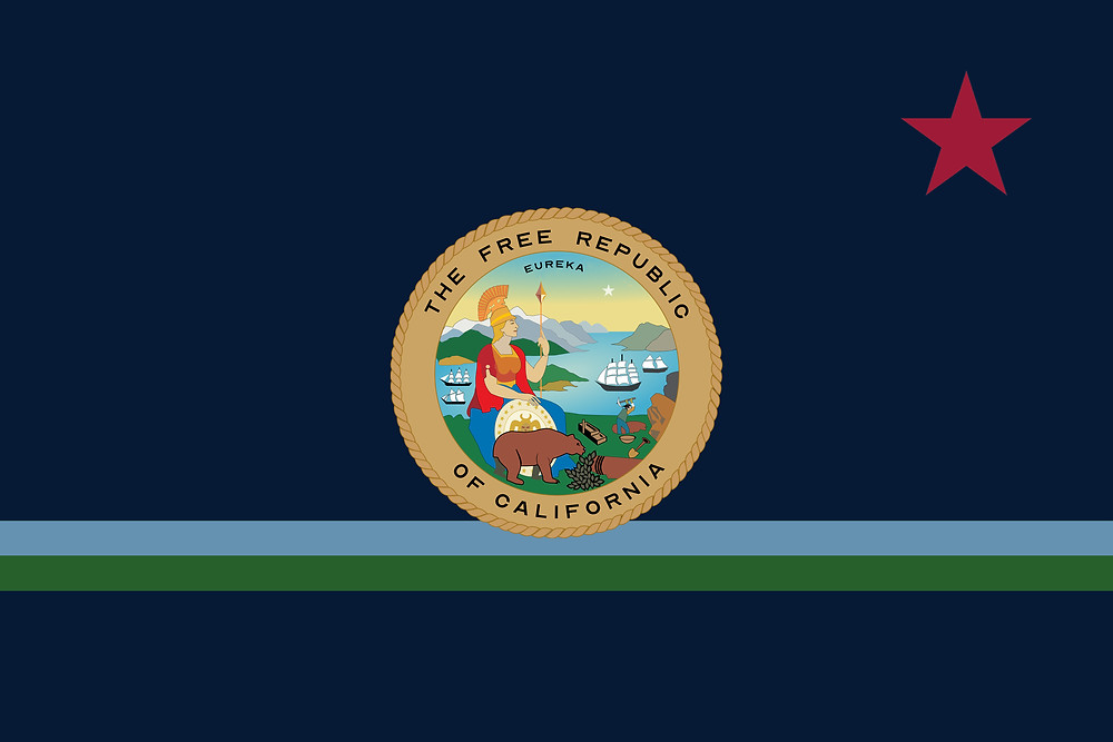 An embroidered flag for The Free Republic of California with a seal, a red star, a turquoise and green stripe, and a navy blue background