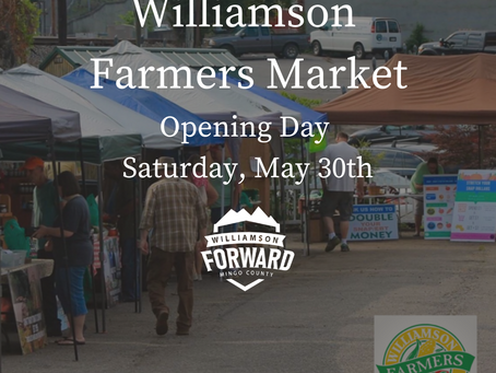 Williamson Farmers Market Opening Day is   Saturday, May 30th
