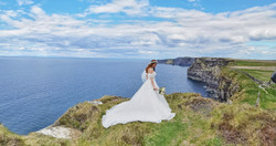 Bride at the Cliffs of Moher - Hags Head - Humanist Wedding