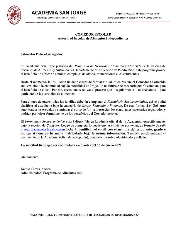 CARTA PARA COMPLETAR SOCIECONOMICO 2020-