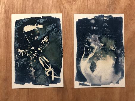wet cyanotype 第一次製作藍曬