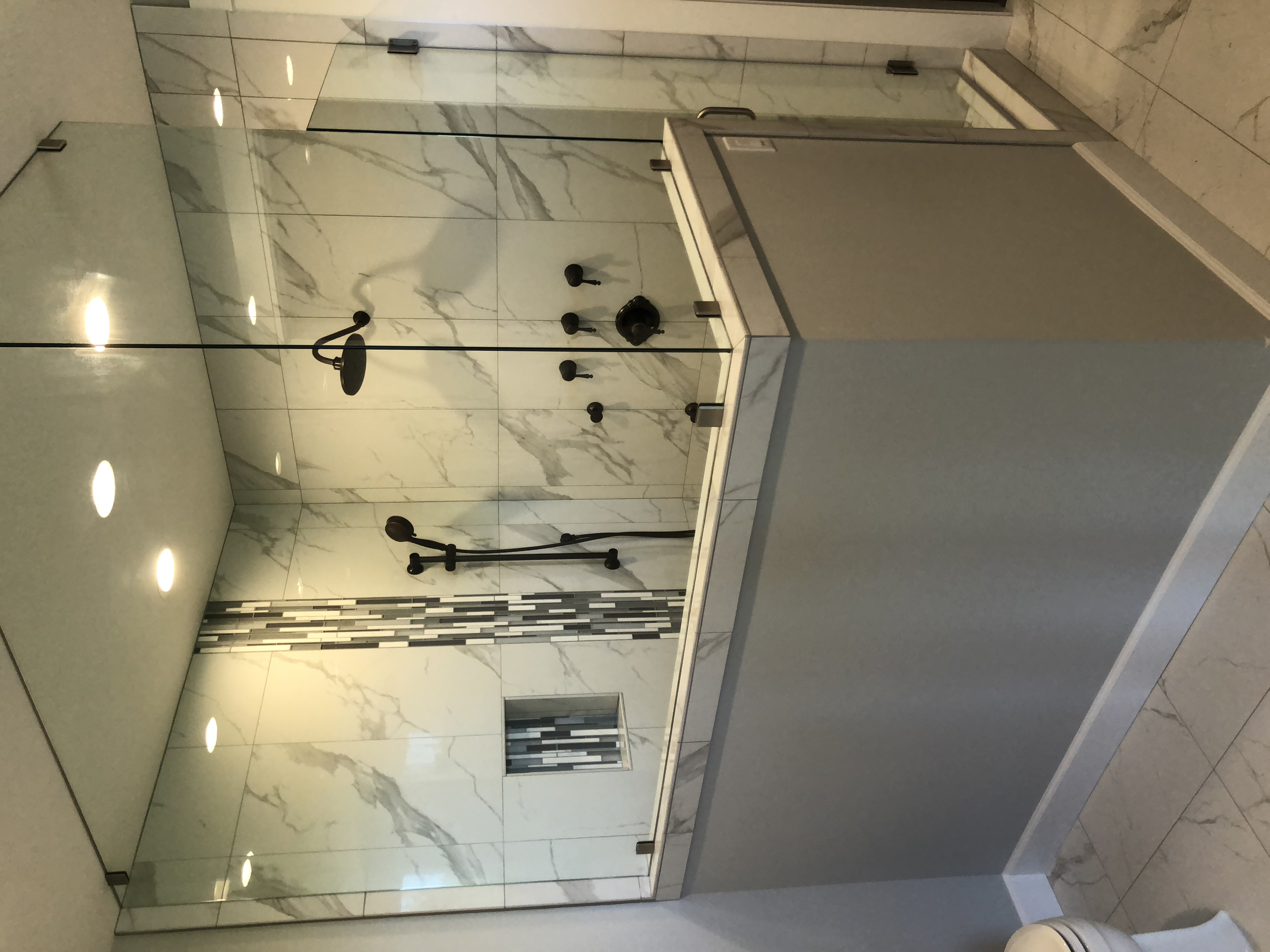 View of glass shower looking right