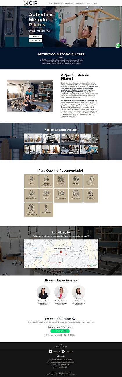 Nova página de especialidades do site do centro de integração postural (CIP)