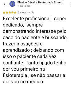 Testemunho do paciente Elenice Oliveira de Andrade Ermeto no Google Maps