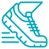ícone de um um tenis sendo utilizado por um corredor para correr, representando recuperação