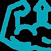 ícone de um braço musculoso com uma seta para cima, representando preparação física