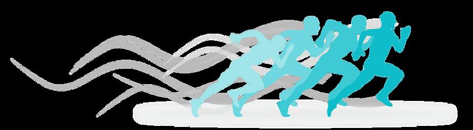 Silhueta de quartro atletas correndo em azul