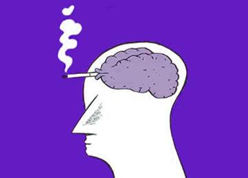 imagem desenhada de um cérebro fumando cigarro