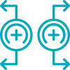ícone de dois símbolos de magnetismo se afastando, representando magnetoterapia