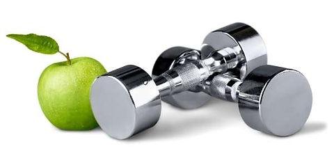 imagem de dois pesos e uma maçã representandoFortalecimento muscular e reequilíbrio muscular