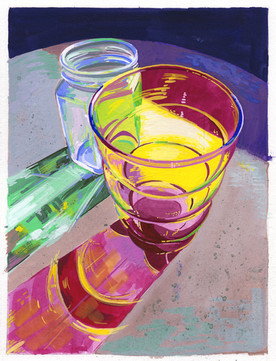 Glass Shadows 2 - Gouache Painting