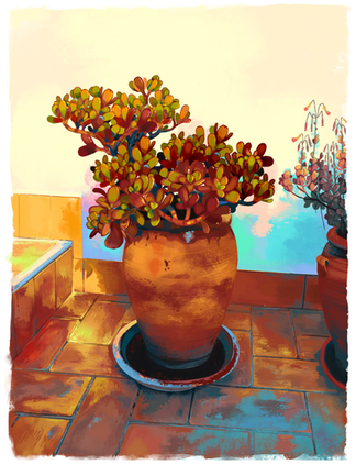 Seville Pots - Digital Painting