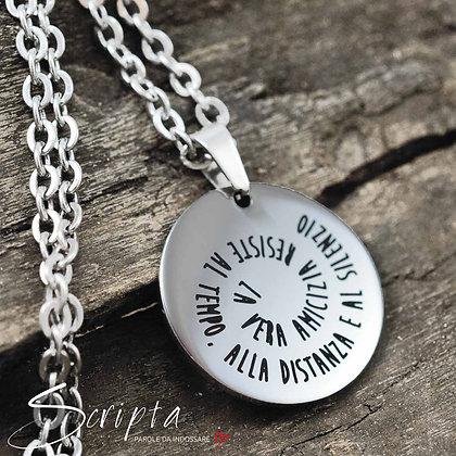 Collana scritta a Spirale in acciaio lucido incisione profonda