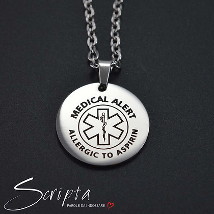 Collana Tonda con messaggio Salvavita in acciaio lucido - particolare