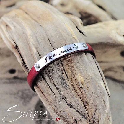 Bracciale Cuoio e SCRIPTA incisione profonda personalizzabile cuoio rosso