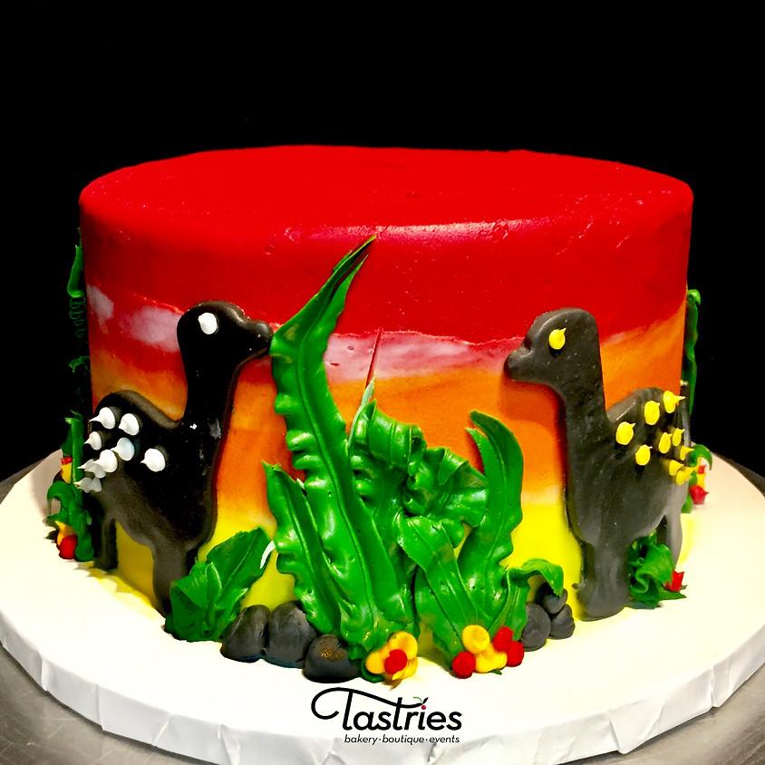 Clase de decoración de pasteles -  Dinosaurio 5:00 p.m. clase en español