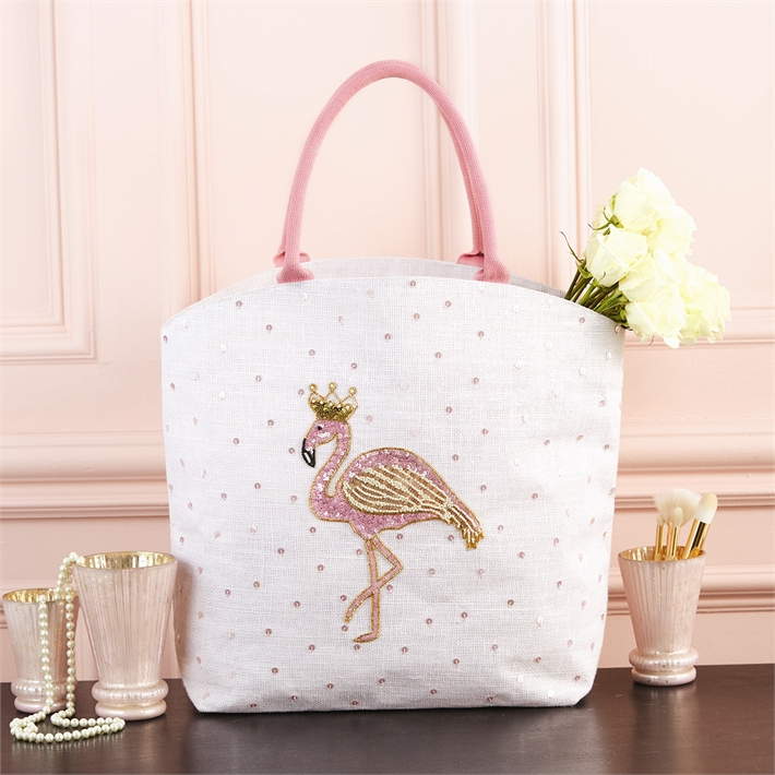 Flamingo Beaded Tote Bag