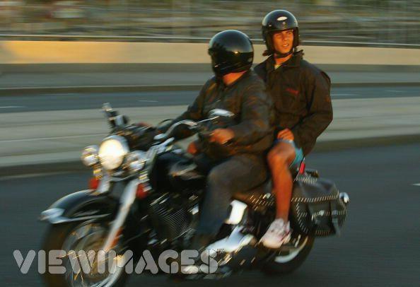 Rafael Nadal on John's Harley Davidson