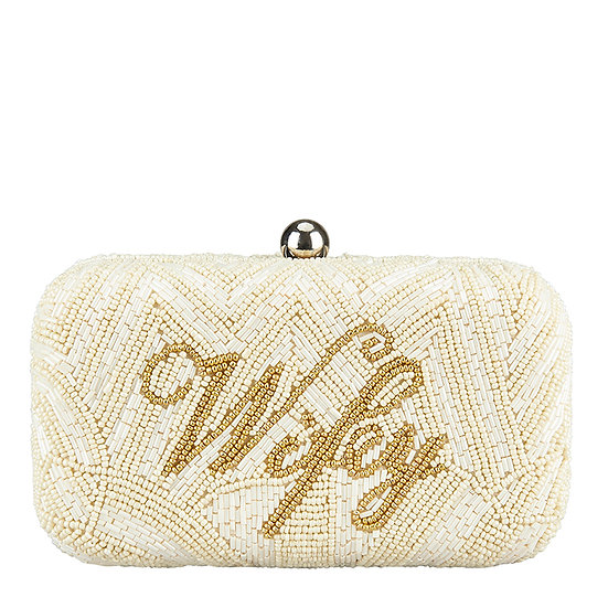 Wifey Box Clutch Ivory and Amber