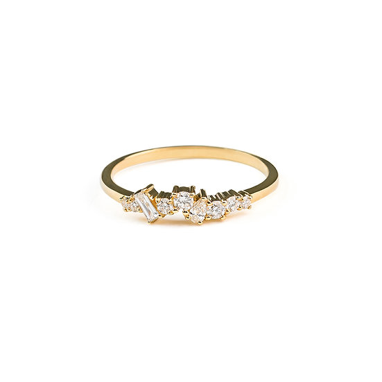 Mist Cluster Diamond Wedding Band - Gold