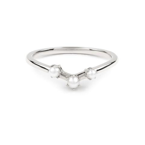 The Pearl Arc Wedding Band - White Gold