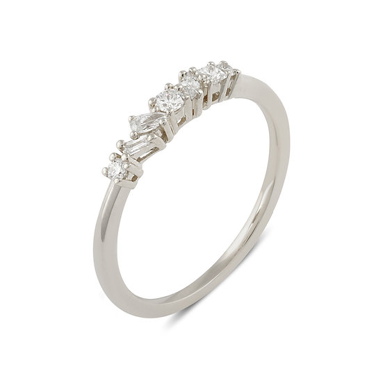 Muse Diamond Wedding Band - White Gold