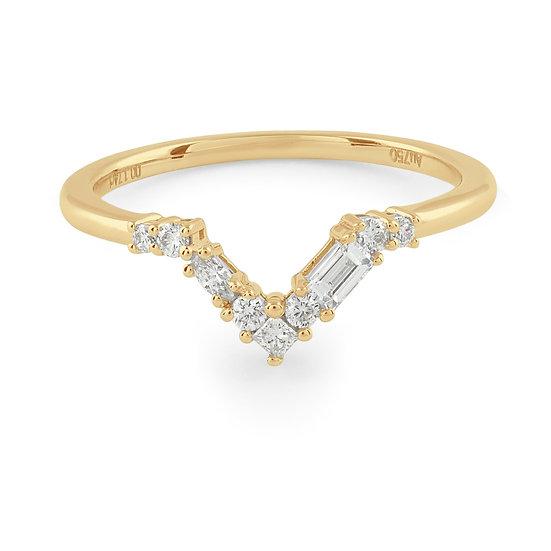 Blanca Curved Diamond Wedding Band - Gold