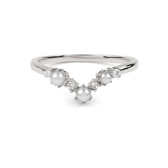 The Pearl Arc Diamond Wedding Band - White Gold