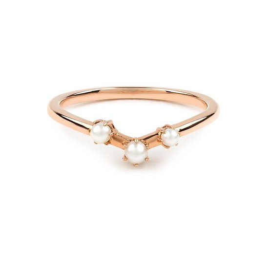 The Pearl Arc Wedding Band - Gold