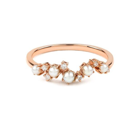 The Pearl Crescent Diamond Wedding Band - Rose Gold