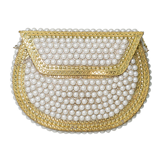 Pearl Metal Bag - Gold and Ivory