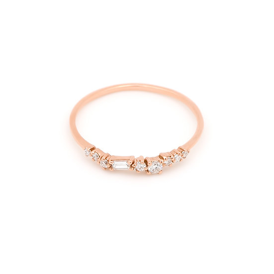 Aura Diamond Wedding Band - Rose Gold