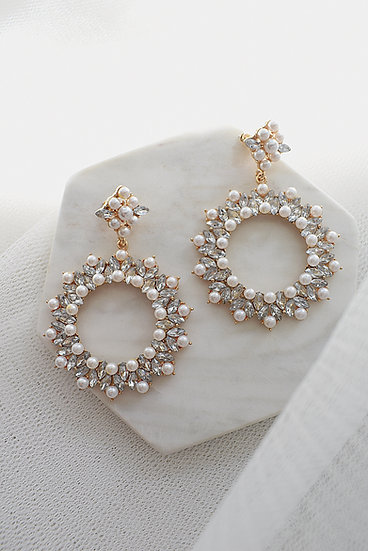 Billie - Gold Crystal and Pearl Statement Round Drop Bridal Earrings
