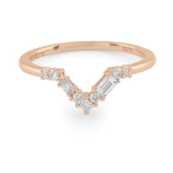 Blanca Curved Diamond Wedding Band - Rose Gold