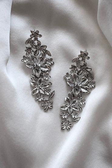 Silver Floral Drop Earrings