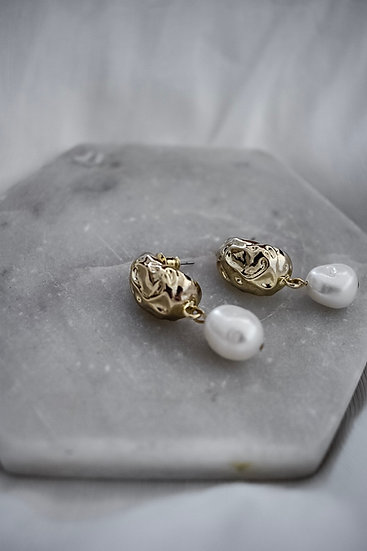 Hammered Gold and Pearl Earrings