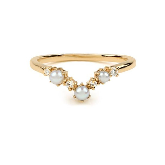 The Pearl Arc Diamond Wedding Band - Gold