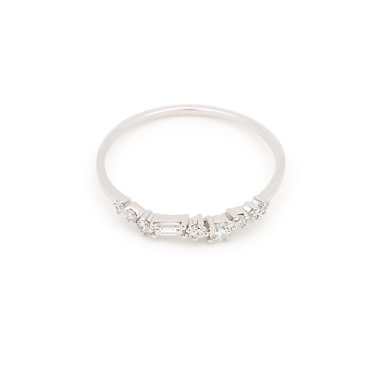 Aura Diamond Wedding Band - White Gold