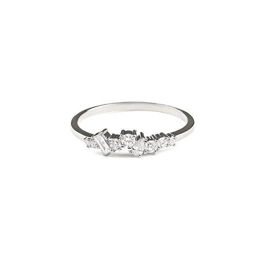 Mist Cluster Diamond Wedding Band - White Gold